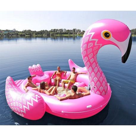bateau gonflable flamant rose