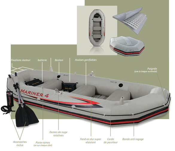 bateau gonflable 4 places avec moteur